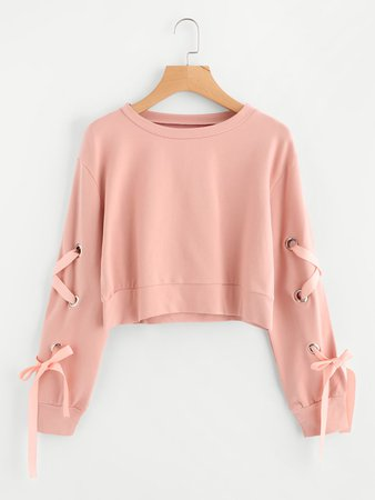 Eyelet Lace Up Sleeve Crop Sweatshirt | ROMWE