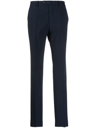 Blue Etro slim-fit tailored trousers- Farfetch