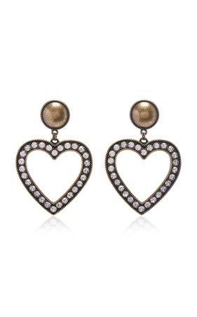 Alessandra Rich Brass With Crystal Heart Earrings