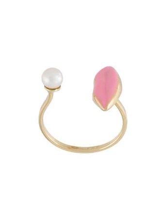 Delfina Delettrez 'Lips piercing' ring pink & white ANA1017B - Farfetch