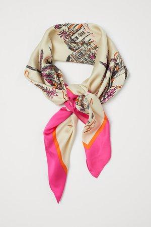 Patterned Satin Scarf - Light beige/patterned - Ladies | H&M US