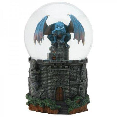 Blue Castle Dragon Snow Globe