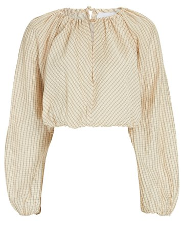 Significant Other Florence Plaid Long Sleeve Crop Top | INTERMIX®