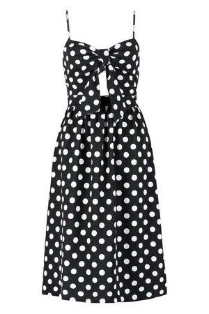 Knot Front Polka Dot Midi Dress   Boohoo black
