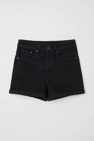 Denim Shorts High Waist - Black