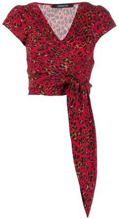 Andamane leopard pattern tie blouse