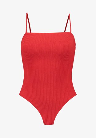 Topshop SQUARE NECK BODY - Débardeur - red - ZALANDO.FR