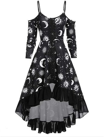 Sun Moon Star Print Long Sleeve Strap Dress for Women Casual Sling Vintage Gothic Dresses Plus Size Black at Amazon Women's Clothing store