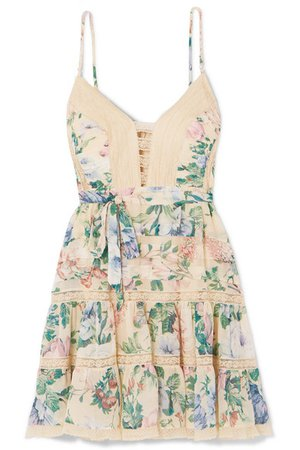 Zimmermann | Verity lace-trimmed floral-print cotton and silk-blend chiffon mini dress | NET-A-PORTER.COM