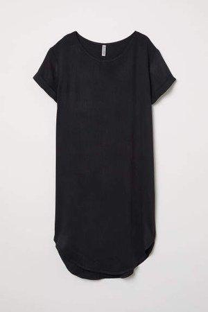 Viscose T-shirt Dress - Black