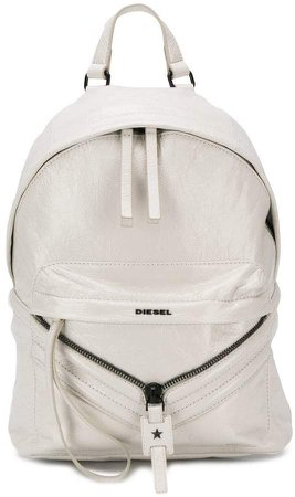 coated leather patched backpack