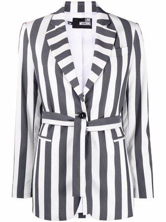 Love Moschino Striped tie-waist Blazer - Farfetch
