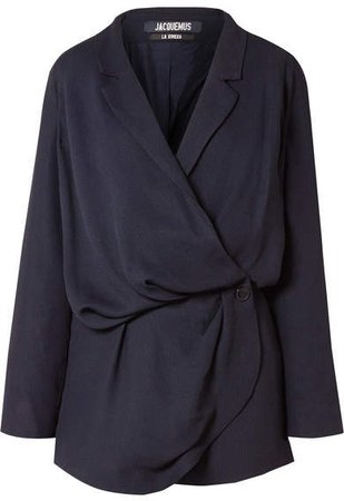 Sisco Double-breasted Woven Mini Wrap Dress - Midnight blue