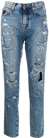 high rise distressed jeans