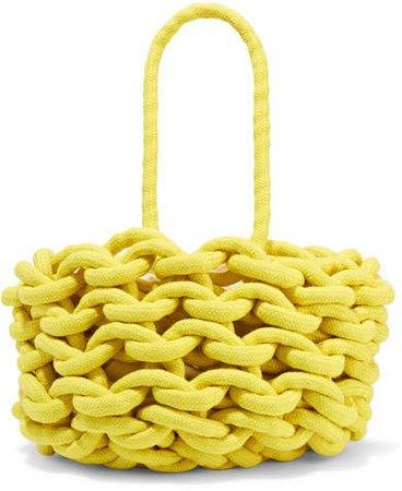 Woven Cotton Bucket Bag - Yellow