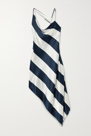 Open-back Asymmetric Striped Silk-blend Satin Dress - Midnight blue