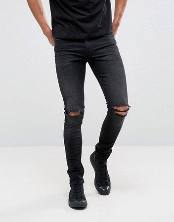ASOS DESIGN | ASOS DESIGN super skinny 12.5oz jeans with knee rips in washed black