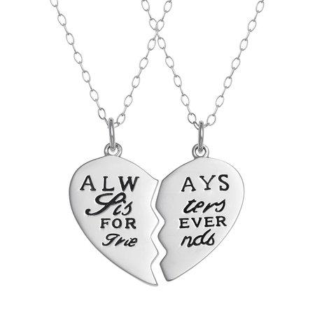 "Sterling Silver ""Sisters"" Heart Pendant Necklace Set | Kohls"