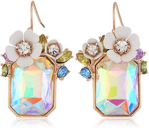 Betsey Johnson Flower Rectangle Stone Drop Earrings, White