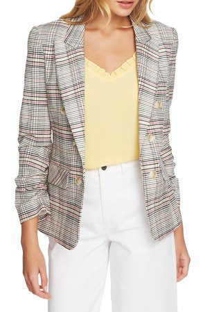1.STATE Cassia Ruched Sleeve Plaid Blazer | Nordstrom