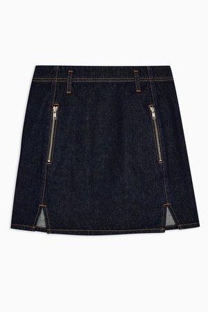 Indigo Denim Front Notch Denim Skirt | Topshop