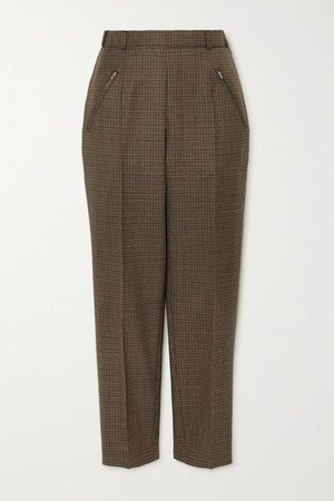Cropped Houndstooth Wool Straight-leg Pants - Brown