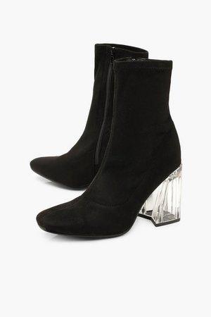 Clear Flare Heel Sock Boots | Boohoo