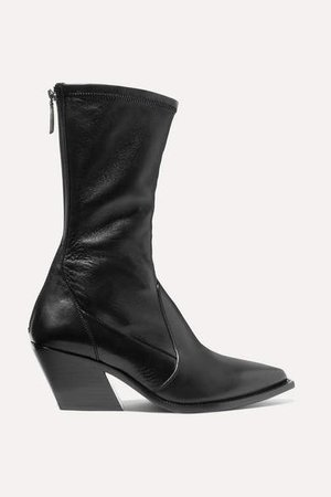 Leather Sock Boots - Black