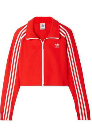 ADIDAS ORIGINALS Cropped Striped Jersey Track Jacket in Red