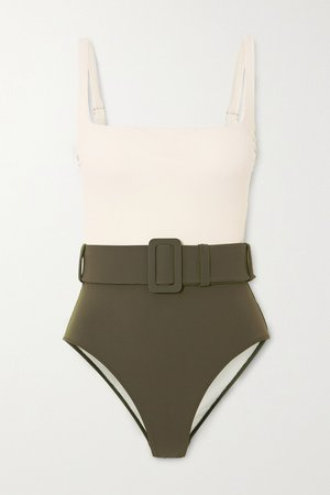 Sage green Cassandra belted two-tone swimsuit | Evarae | NET-A-PORTER