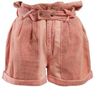 Twen Paperbag Waist Washed Denim Shorts - Womens - Light Pink