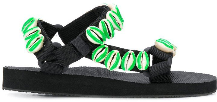 Seashell-Embellished Flat Sandals