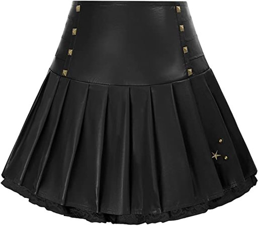Amazon.com: Women Lace Patchwork Leather Mini Skirts High Waist Pleated Goth Skirt : Clothing, Shoes & Jewelry