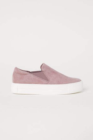 Suede Slip-on Shoes - Pink
