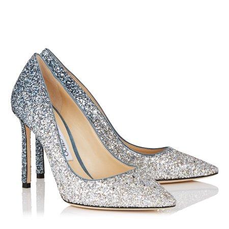 Silver and Dusk Blue Fireball Glitter Dégradé Fabric Pointy Toe Pumps   Romy 100   CR18   JIMMY CHOO