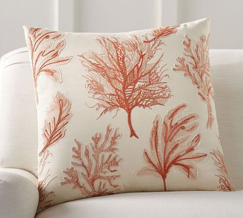 Fan Coral Applique Pillow Cover | Pottery Barn