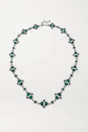 White gold 18-karat white gold, enamel and diamond necklace | Amrapali | NET-A-PORTER