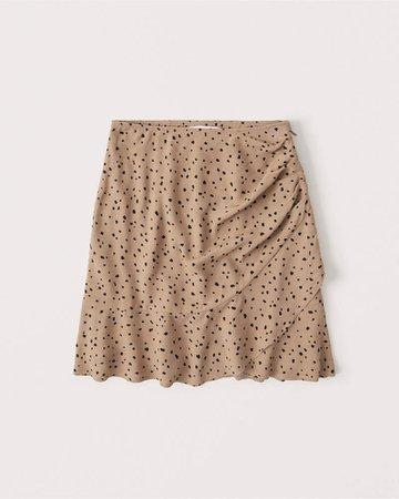 Women's Ruched Ruffle Wrap Mini Skirt | Women's New Arrivals | Abercrombie.com
