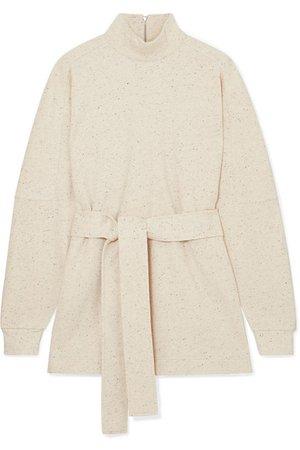 REMAIN Birger Christensen   Arno belted mélange cotton-blend sweatshirt   NET-A-PORTER.COM