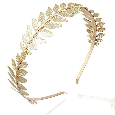 Amazon.com: RechicGu Gold 3-Branch Roman Goddess Leaf Branch Dainty Bridal Hair Crown Head Dress Boho Alice Band with Gift Box: Clothing