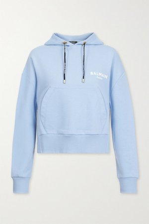 Cropped Flocked Cotton-jersey Hoodie - Light blue
