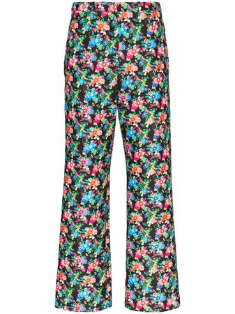 Paco Rabanne Cropped floral-print slim-leg Trousers - Farfetch
