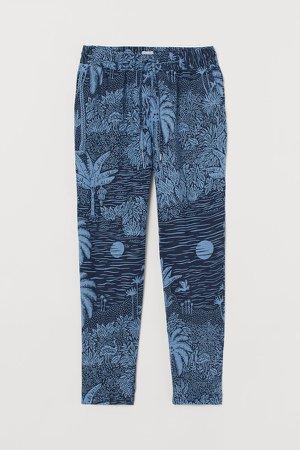 Pull-on Linen Pants - Blue