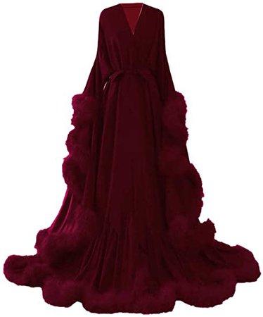Fur trimmed burgundy silk satin gown
