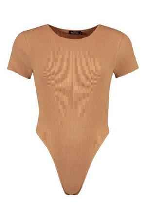 Rib Knit Crew Neck Short Sleeve Knitted Bodysuit | boohoo