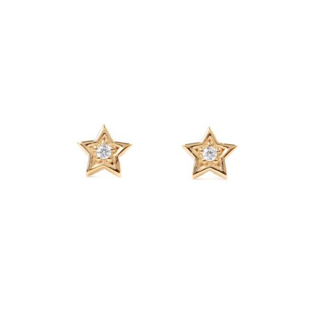 ONLINE - Sterling Silver 14K Gold-Plated Cubic Zirconia Star Stud Earrings - Walmart.com - Walmart.com