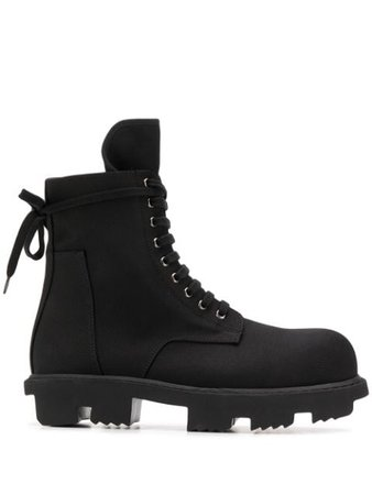 Rick Owens Drkshdw Lace-Up Ankle Boots DU20S5826CT Black | Farfetch