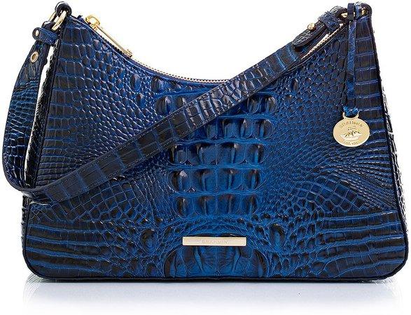 Esme Croc Embossed Leather Shoulder Bag
