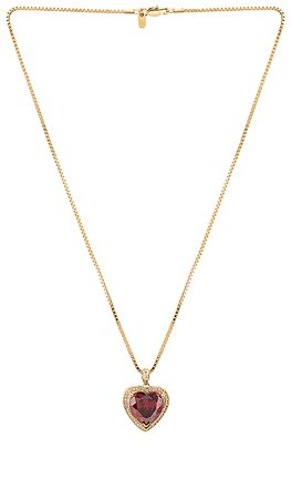 Vanessa Mooney Ruby Heart Necklace in Gold | REVOLVE