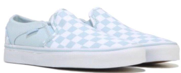 Light blue and white checkered vans